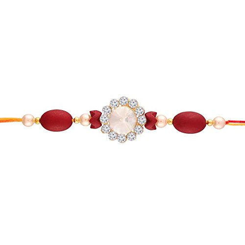 Gold Plated Pearl and Stone Studded Rakhi for Men