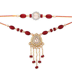 Gold Plated Pearl and Kundan Rakhi Set for Bhaiya Bhabhi