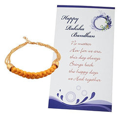 Yellow Rakhi Bracelet with Greeting Card for Beloved Brother