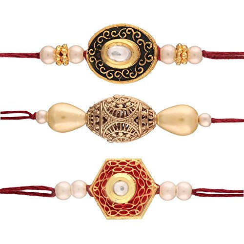 Gold Plated Pearl and Stone Studded Set of 3 Rakhi for Beloved Brother
