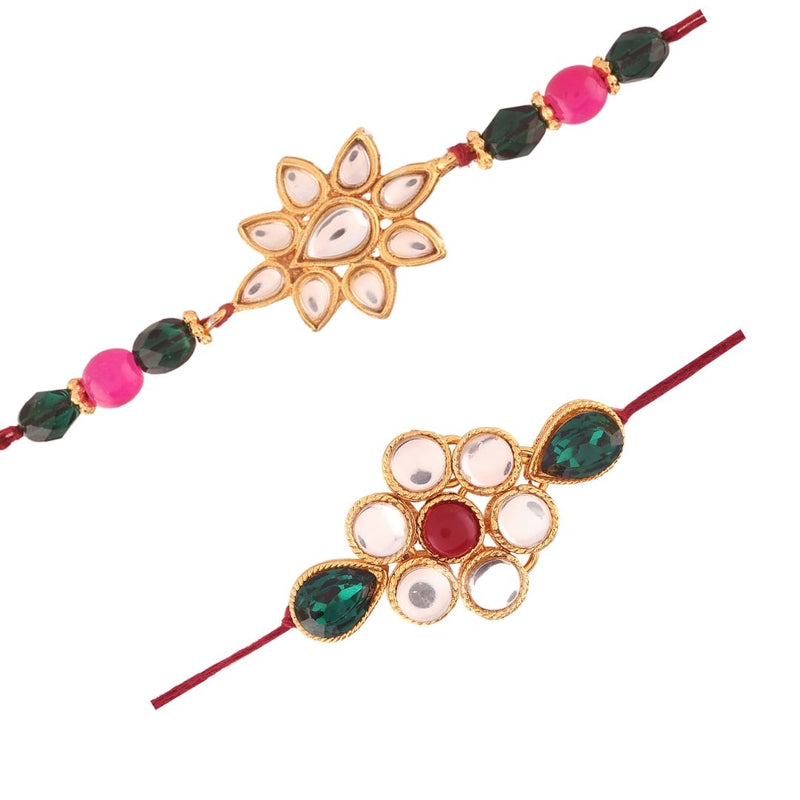 Gold Plated Kundan And Pearl Combo Pack of 2 Rakhi for Beloved Brother (R634-36)