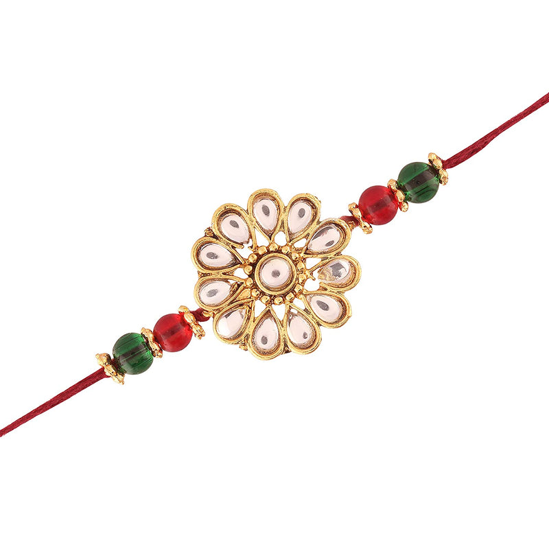 Gold Plated Red and Green Kundan and Beads Rakhi for Men