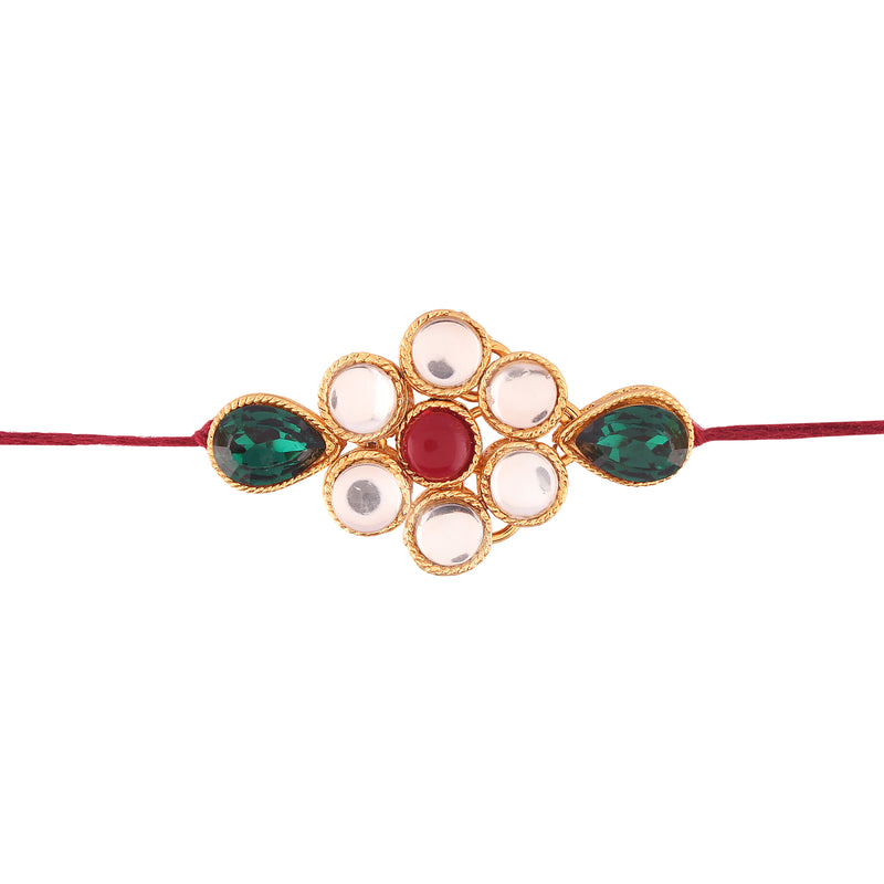 Gold Plated Kundan And Stone Studded Rakhi for Beloved Brother (R636)