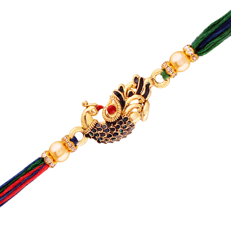 Gold Plated Designer CZ Pearl Multi-Colour Peacock Rakhi Combo For Men/Boys (R702-2) (Pack Of 2)