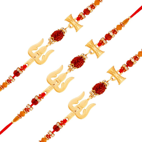 Gold Plated Designer Trishul Damroo Rakhi Combo of 3 for Bhai/Brother (R708-3) Pack Of 3