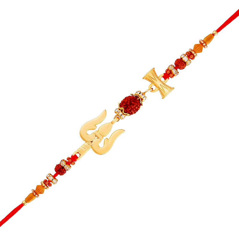 Gold Plated Designer Trishul Damroo Rakhi with Greeting Card for Bhai/Brother (R708-C)