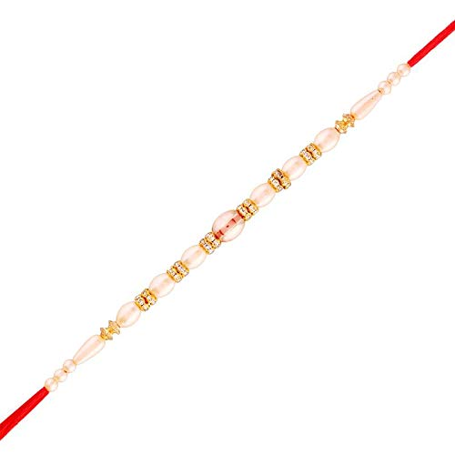 Gold Plated Designer CZ Pearl Rakhi for Men-Boys