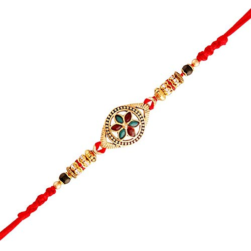 Gold Plated Designer Multi-Colour Stone Studded Rakhi for Men-Boys