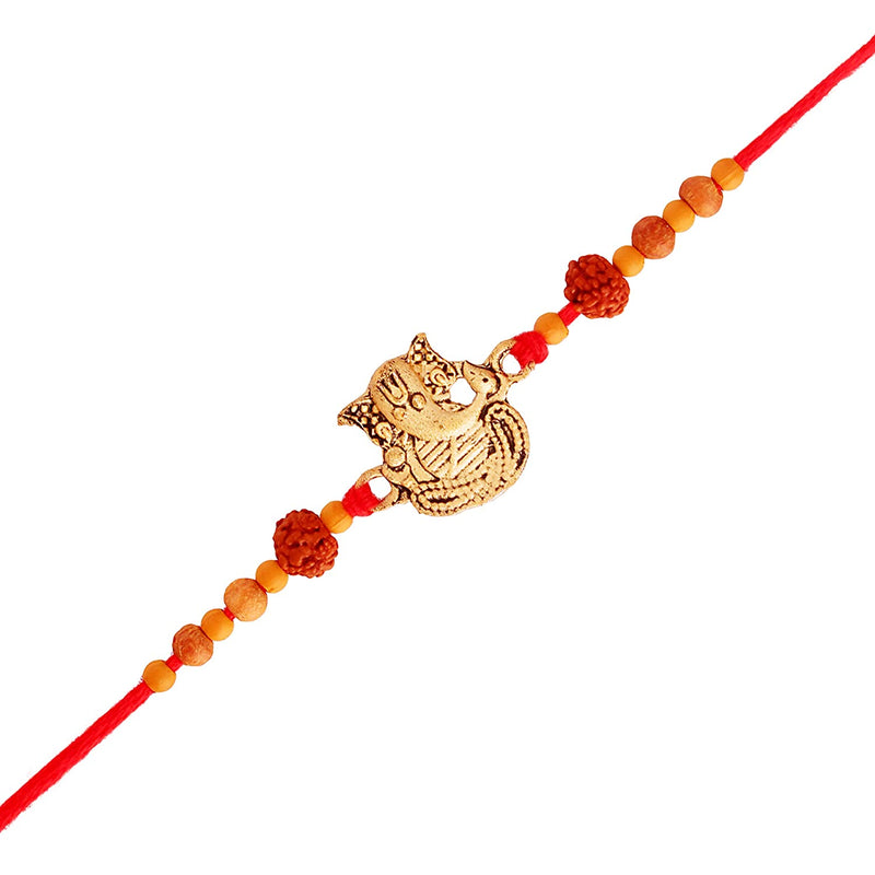 Gold Plated Peacock Ganesha Multi-Color Stone Studded Rakhi for Men-Boys