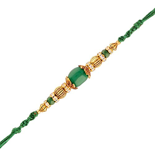 Gold Plated Designer CZ Stone Studded Green Pearl Rakhi for Men-Boys