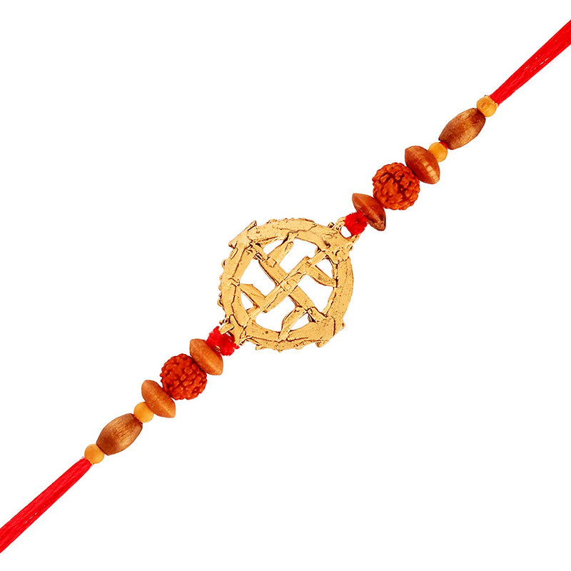 Gold Plated Designer Rudraksh Swastik Rakhi for Men-Boys
