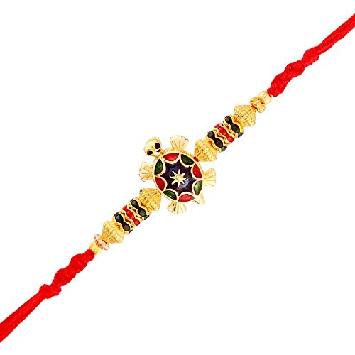 Gold Plated Designer Multi-Color Turtle Rakhi for Men-Boys