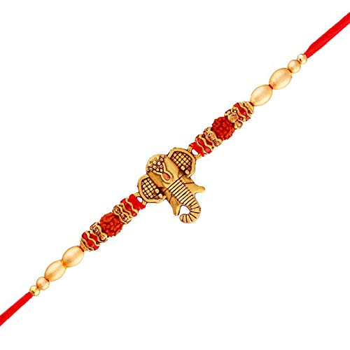 Gold Plated Designer Rudraksh Lord Ganesha Rakhi for Men-Boys