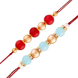 Gold Plated Designer Pearl Multi-Colour Combo Rakhi for Men-Boys Pack of 2