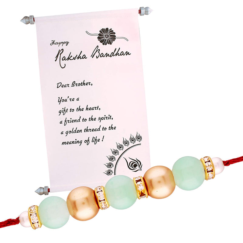 Gold Plated Designer Pearl Rakhi with Greeting Scroll for Men-Boys
