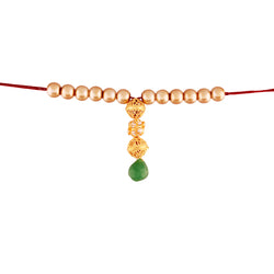 Gold Plated Designer Lumba Pearl Rakhi For Bhabhi