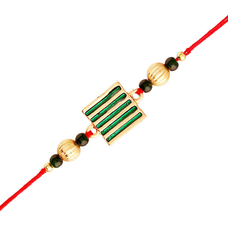 Gold Plated Designer Beads Combo Pack of 2 Rakhi for Beloved Brother (R936-34)