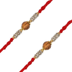 Gold Plated Stone Studded Wooden Rakhi Combo Of 2 For Men/Boys/Bhai/Brother (R961-2) (Pack Of 2)