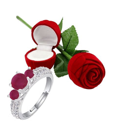 Valentine's Special Silver Plated CZ Adjustable Ring with Red Rose Gift Box For Women/Girls