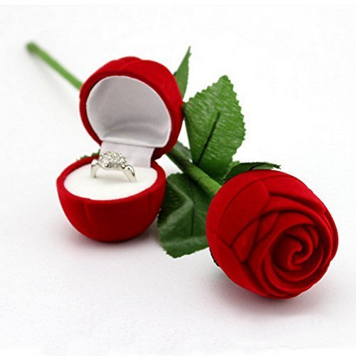Velvet Red Rose Jewellery Ring Box (Gift, Engagement) Single Box Without Ring (S001