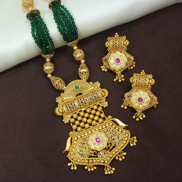 18K Gold Plated Intricately Designed Traditional Long Beaded Brass Jewellery Set With Earrings Glided with Uncut Polki Kundan (MC030G)