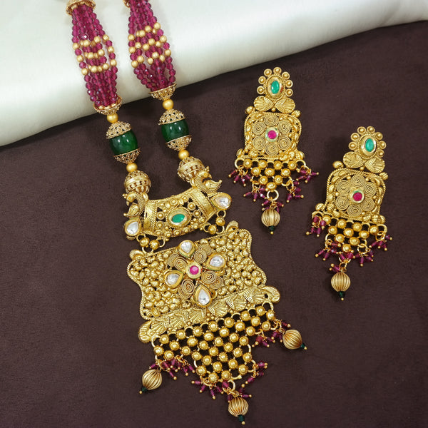 18K Gold Plated Intricately Designed Traditional Long Beaded Brass Jewellery Set With Earrings Glided with Uncut Polki Kundan (MC036MG)