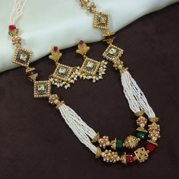 18K Gold Plated Intricately Designed Traditional Long 2 Layered Beaded Brass Jewellery Set With Earrings (MC035)