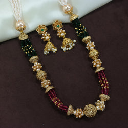 18K Gold Plated Intricately Designed Traditional Long Beaded Brass Jewellery Set With Earrings (MC032)