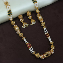 18K Gold Plated Intricately Designed Traditional Long Beaded Brass Jewellery Set With Earrings (MC034)