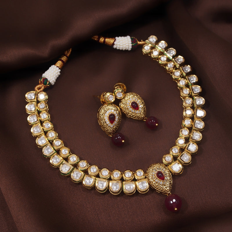 24K Gold Plated Intricately Handcrafted Enamel Ruby Jewellery Set Glided With Uncut Polki Kundans For Women
