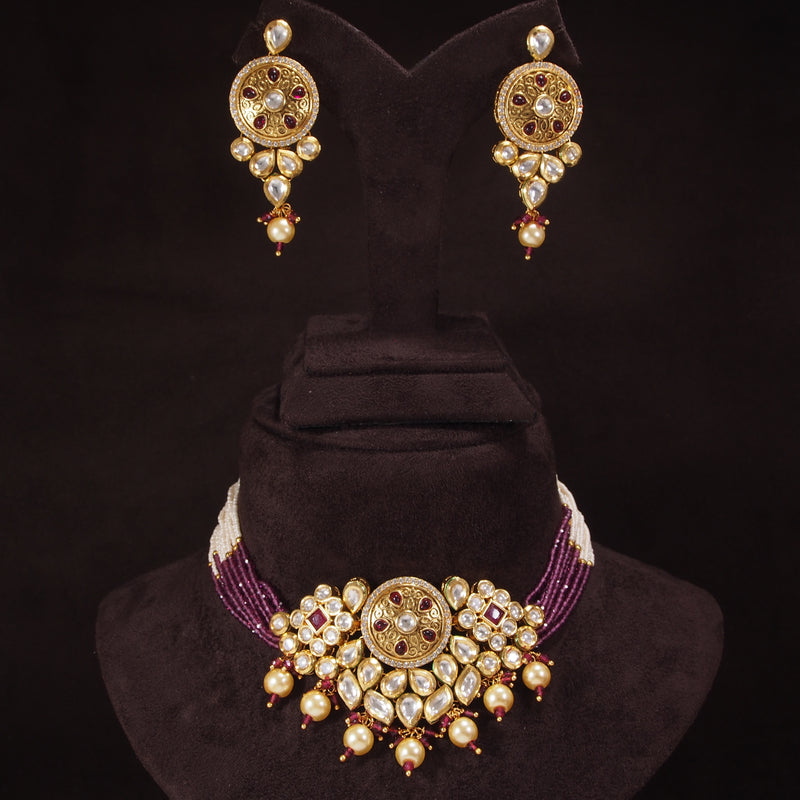 24K Gold Plated Intricately Handcrafted Beaded Ruby Choker Set Glided With Uncut Polki Kundans For Women