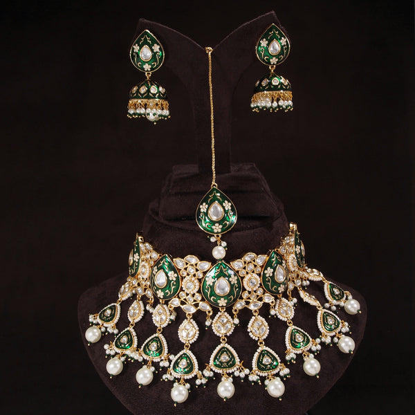 24K-Gold Plated Intricately Handcrafted Beaded Green Enamel Choker Set Glided With Uncut Polki Kundans Pearls For Women