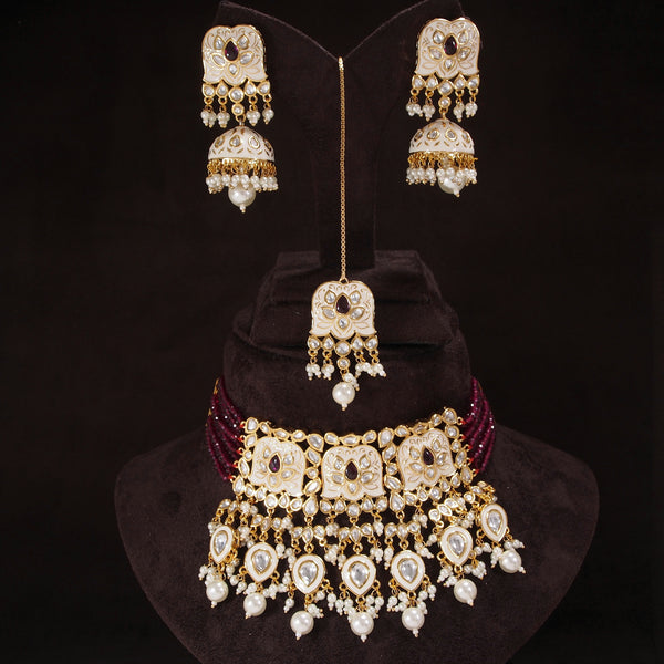 24K-Gold Plated Intricately Handcrafted Beaded White Enamel Choker Set Glided With Uncut Polki Kundans Pearls For Women