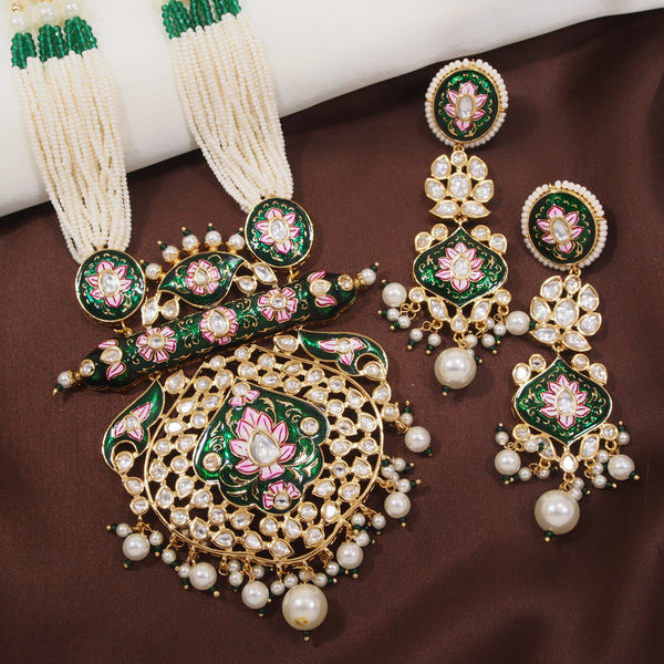 24K Gold Plated Intricately Designed Traditional Long Beaded Brass Green Enamel Jewellery Set With Earrings Glided with Uncut Polki Kundan & Pearls