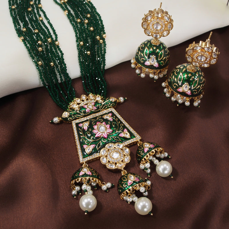 24K Gold Plated Intricately Designed Traditional Long Beaded Brass Jewellery Set With Earrings Glided with Uncut Polki Kundan & Pearls