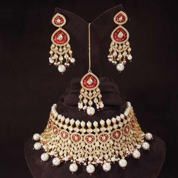 24K-Gold Plated Intricately Handcrafted Beaded Red Choker Set Glided With Uncut Polki Kundans Pearls For Women