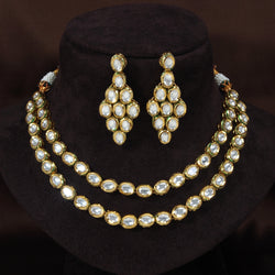 24K Gold Plated Intricately Handcrafted Jewellery Set Glided With Uncut Polki Kundans For Women