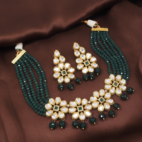 24K Gold Plated Intricately Handcrafted Beaded Emerald Choker Set Glided With Uncut Polki Kundans For Women