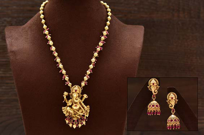 24K Gold Plated Intricately Handcrafted Lord Ganesha Antique Brass Jewellery Set With Earrings