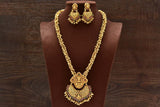 24K Gold Plated Intricately Handcrafted Goddess Laxmiji Antique Brass Beaded Jewellery Set With Earrings