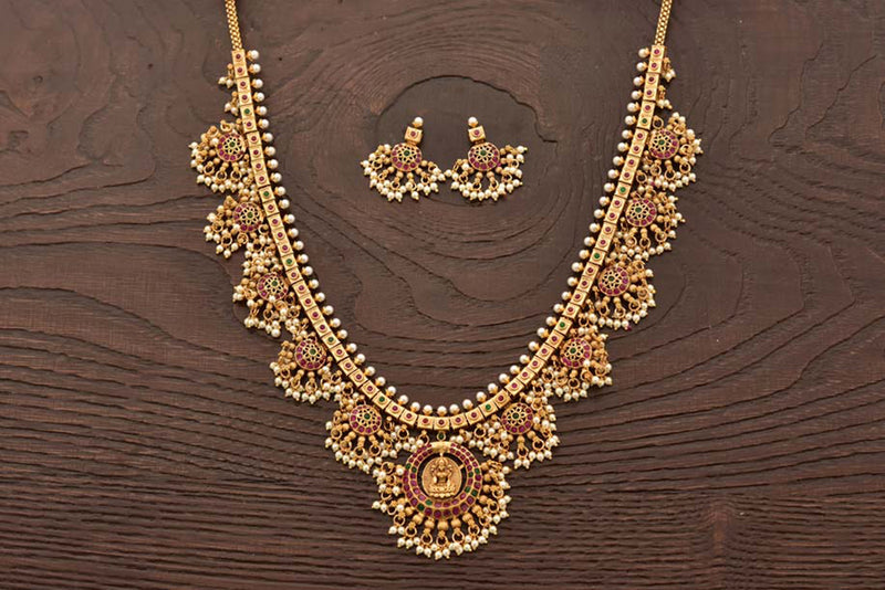24K Gold Plated Intricately Handcrafted Goddess Laxmiji Antique Brass Jewellery Set Emblazoned with pearls with Along With Earrings