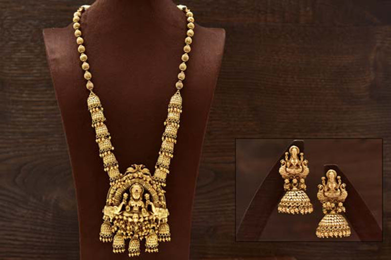 24K Gold Plated Intricately Handcrafted Goddess Laxmiji Antique Brass Jewellery Set with Peacock Engraved Along With Earrings