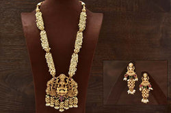 24K Gold Plated Intricately Handcrafted Goddess Laxmiji Pearl Antique Brass Jewellery Set  Along With Earrings