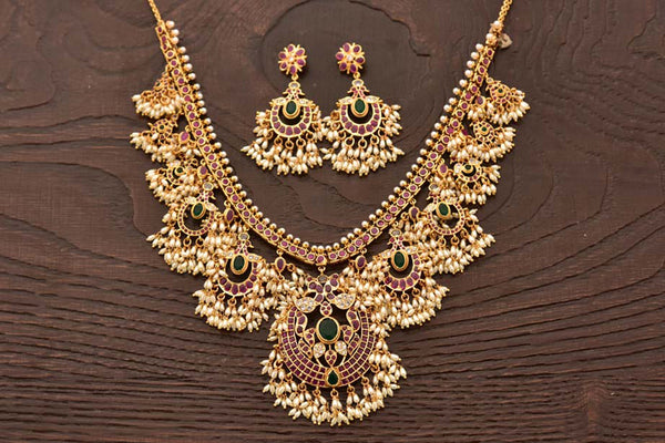 24K Gold Plated Intricately Handcrafted Antique Brass Jewellery Set Encased with Ruby & Emerald Stones With Earrings