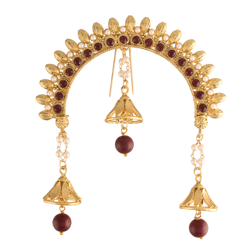 Gold Plated Traditional Maharastrian Jewellery Aambada Juda Pin Hair Brooch for Women (SM35M)