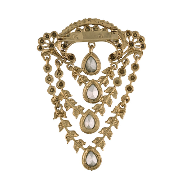 Gold Plated Traditional Handcrafted Faux Stone Studded with Pearls Brooch for Mens (SM50FL)