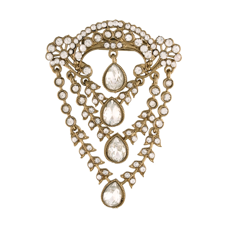 Gold Plated Traditional Handcrafted Faux Stone Studded with Pearls Brooch for Mens (SM50W)