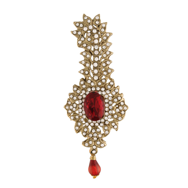 Gold Plated Traditional Handcrafted Faux Stone Studded with Pearls Safa Kalangi for Mens (SM52M)