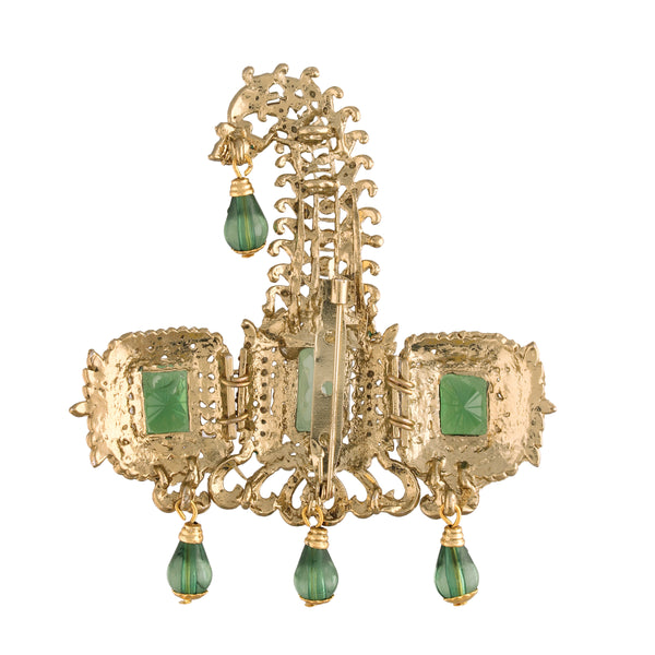Gold Plated Indian Traditional Handcrafted Embellished With Green Stone Safa Kalangi for Groom Men (SM56G)