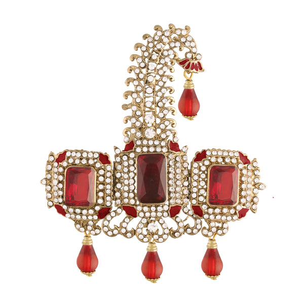 Gold Plated Indian Traditional Handcrafted Embellished With Ruby Stone Safa Kalangi for Groom Men (SM56M)